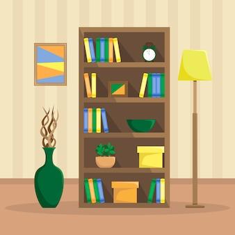 Vlakke afbeelding van een gezellige boekenkast met boeken, klok, planten en dozen. de vloerlamp en de vaas met drijfhout.