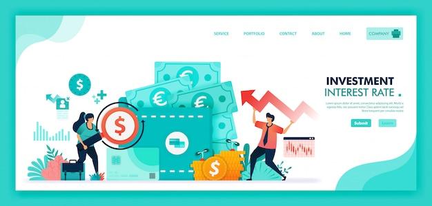 Vlakke afbeelding van geld besparen in termijndeposito, bank en portemonnee, rentetarieven