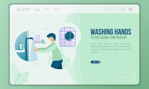 Vlakke afbeelding van handen wassen met zeep op bestemmingspagina