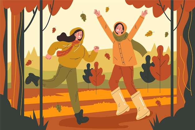 Vlakke afbeelding van herfstkinderen die buiten spelen