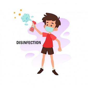 Vlakke afbeelding van karakter desinfectie doen ter preventie van corona-virus