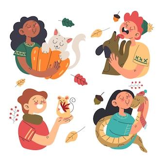 Vlakke afbeelding van kinderen met huisdieren in de herfst