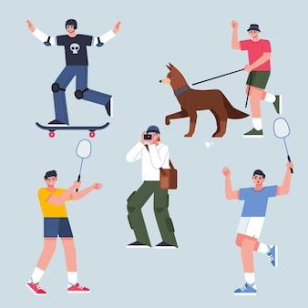 Vlakke afbeelding van mensen die buitenactiviteiten doen