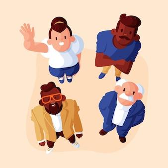 Vlakke afbeelding van mensen die omhoog kijken