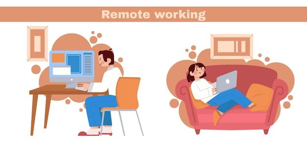 Vlakke afbeelding van mensen die op afstand werken