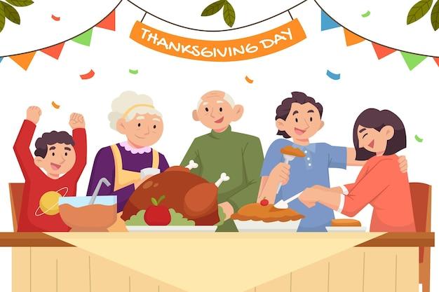 Vlakke afbeelding van mensen die thanksgiving vieren