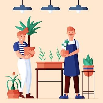 Vlakke afbeelding van mensen die voor planten zorgen