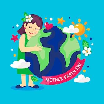 Vlakke afbeelding van moeder aarde knuffelen van de planeet