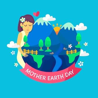 Vlakke afbeelding van moeder aarde