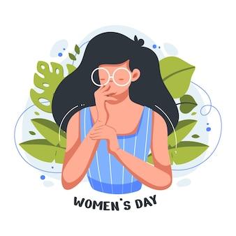 Vlakke afbeelding van mooi en schattig meisje in de viering voor internationale vrouwendag