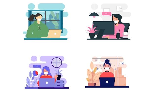 Vlakke afbeelding van personage dat thuis op de computer werkt om het coronavirus te voorkomen