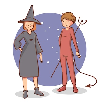 Vlakke afbeelding van schattige halloween-mensen in kostuums