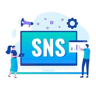Vlakke afbeelding van sociale netwerken dienstverleningsconcept. illustratie voor websites, landingspagina's, mobiele applicaties, posters en banners.
