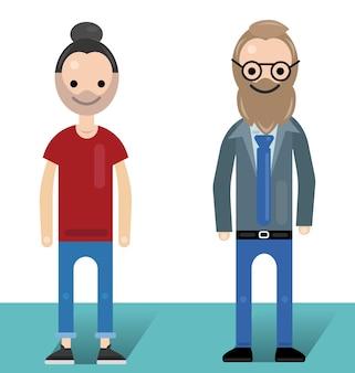 Vlakke afbeelding van twee jonge mannen met formele en vrijetijdskleding