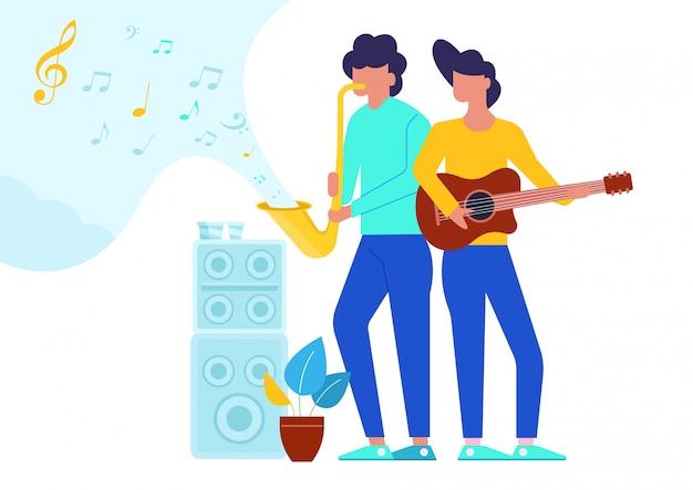 Vlakke afbeelding van twee man met muziekinstrumenten.
