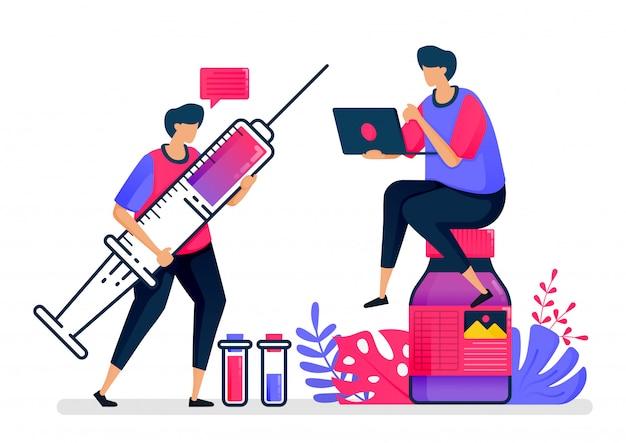Vlakke afbeelding van vaccins en vloeibare medicijnen voor patiënten, ziekenhuizen en de volksgezondheid. ontwerp voor de zorg.