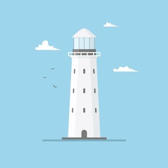 Vlakke afbeelding van vuurtorenbouw en blauwe hemel. zoeklichttoren met zeemeeuwen en wolken