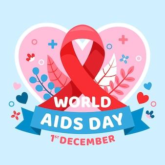 Vlakke afbeelding van wereld aids dag evenement met schattige elementen