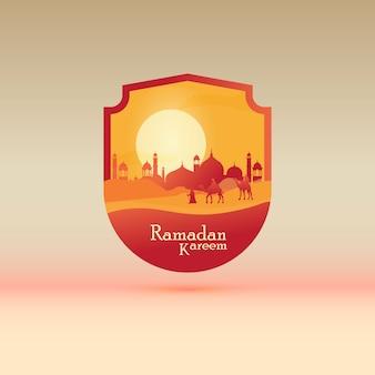 Vlakke afbeelding voor ramadan kareem met foto van de reiziger
