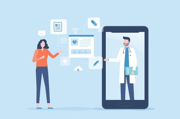 Vlakke afbeelding voor technologie online gezondheidszorg