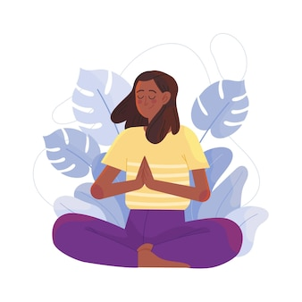 Vlakke afbeelding vrouw mediteren