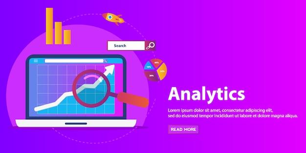 Vlakke afbeelding web analytics ontwerp, seo-optimalisatie.