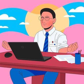 Vlakke afbeelding zakenman mediteren