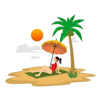 Vlakke afbeelding zomervakantie zitten op het strand onder de gele paraplu met palmbomen, zon en wolken achtergrond