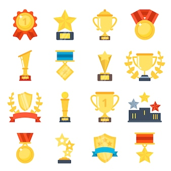 Vlakke afbeeldingen set van verschillende trofee