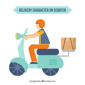 Vlakke afleverkarakter op scooter