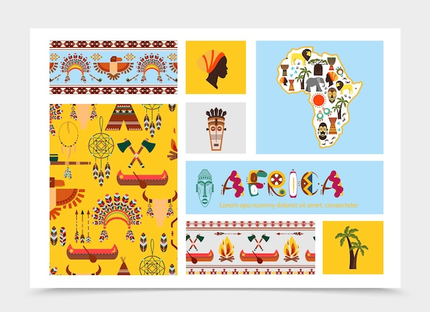 Vlakke afrikaanse inheemse elementen samenstelling met dieren afrika kaart tribale maskers etnische en traditionele symbolen illustratie