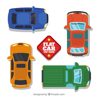Vlakke auto collectie met grote zijspiegels