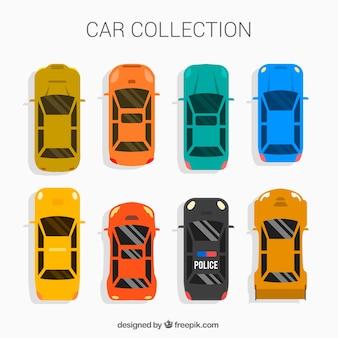 Vlakke auto collectie met politie- en sportwagens
