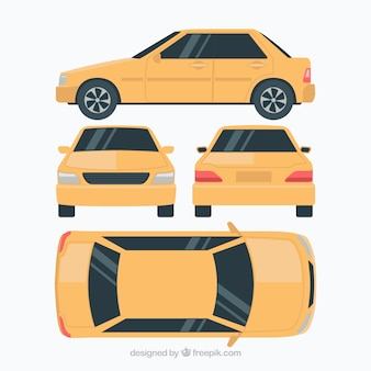 Vlakke auto in verschillende uitzichten