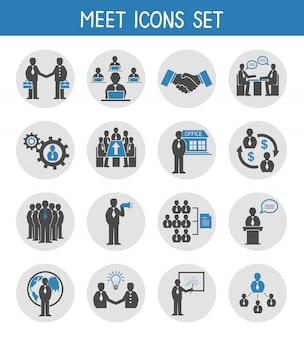 Vlakke bedrijfsmensen die geplaatste pictogrammen ontmoeten