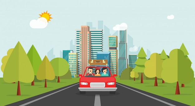 Vlakke beeldverhaal gelukkige familie met jong geitje die samen via auto reizen