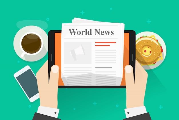 Vlakke beeldverhaalpersoon die ontbijttijd hebben en het tijdschrift of de krant van het wereldnieuws op tablet lezen