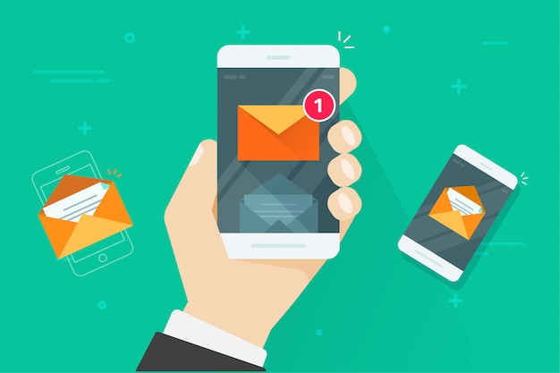 Vlakke beeldverhaalsmartphone met gelezen en ongelezen inbox berichten of e-mailbericht vectorillustratie van cellphone