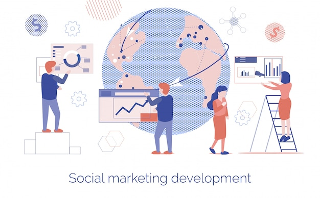 Vlakke bestemmingspagina voor sociale marketingontwikkeling