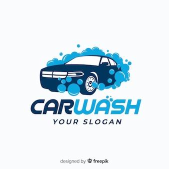 Vlakke blauwe car wash logo
