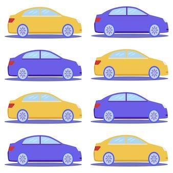 Vlakke blauwe en gele auto cartoon naadloze patroon