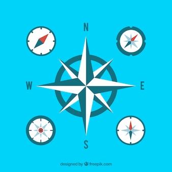 Vlakke blauwe kompascollectie