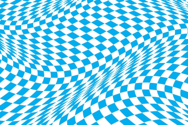 Vlakke blauwe vervormde geruite achtergrond