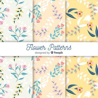 Vlakke bloem en bladerenpatrooninzameling