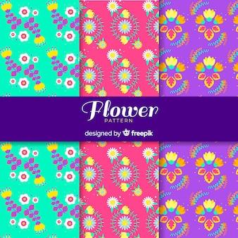 Vlakke bloemen en bladeren patroon ingesteld