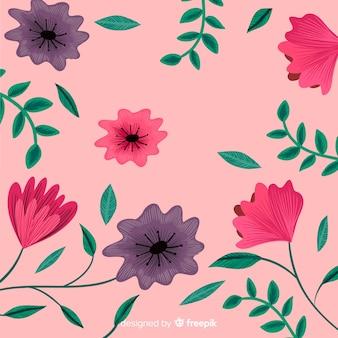 Vlakke bloemenborduurwerk decoratieve achtergrond