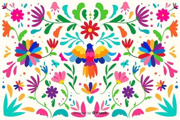 Vlakke borduurwerk mexicaanse bloemenachtergrond