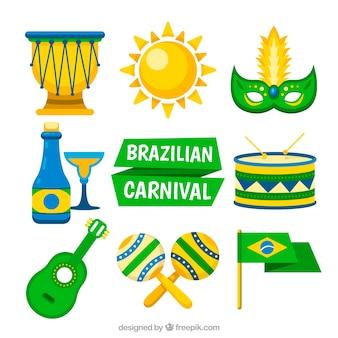 Vlakke braziliaanse carnaval element collectie