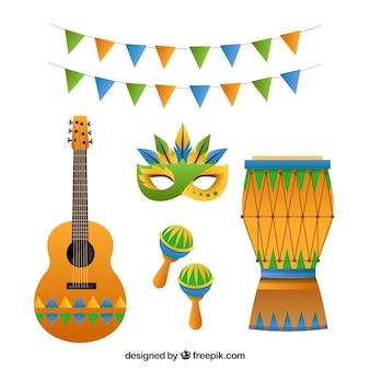 Vlakke braziliaanse carnaval elementen collectie
