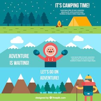 Vlakke camping en avontuur banner collectie